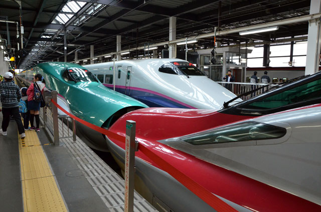 盛岡駅で新幹線を見る