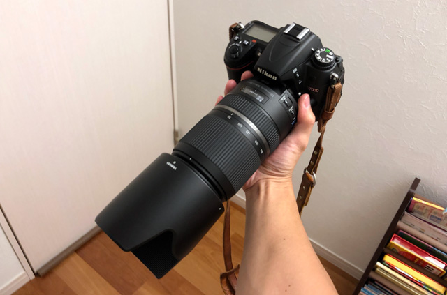 フードを付けたSP 70-300mm F4-5.6 Di VC USD TS (A030N)
