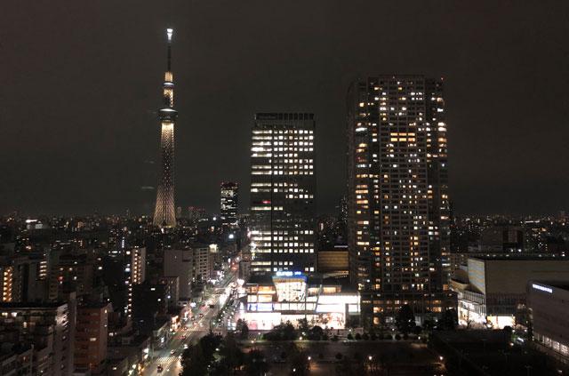 ロッテシティホテル錦糸町からみた東京スカイツリーの夜景
